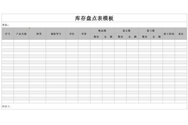 库存盘点表模板截图1