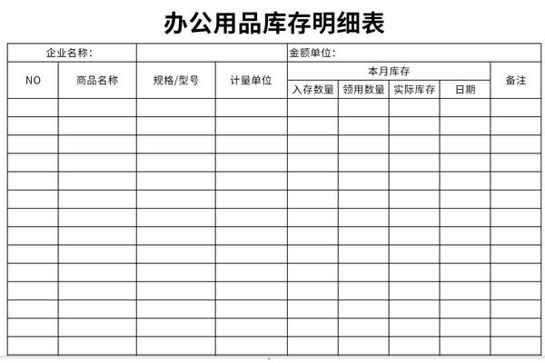 办公用品库存明细表截图1