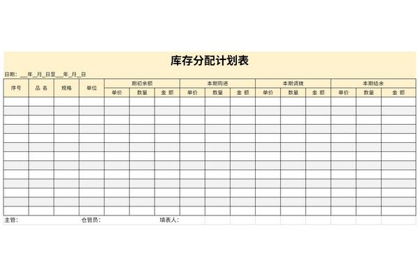 库存分配计划表截图1