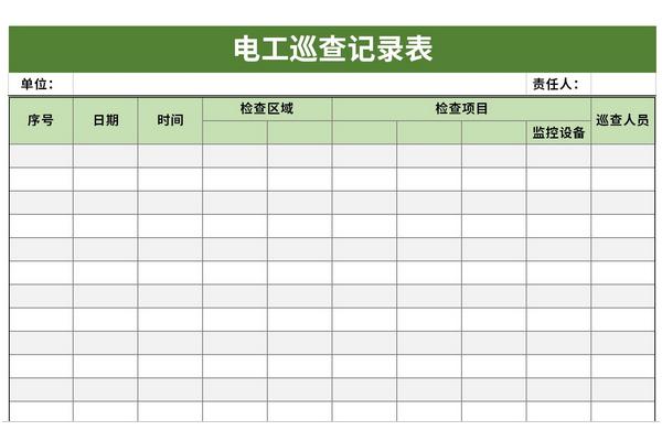 电工巡查记录表