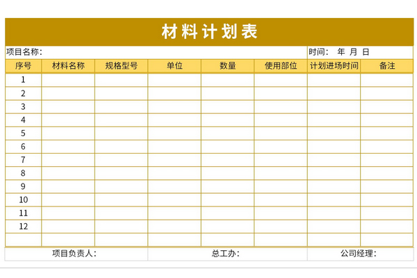 材料计划表