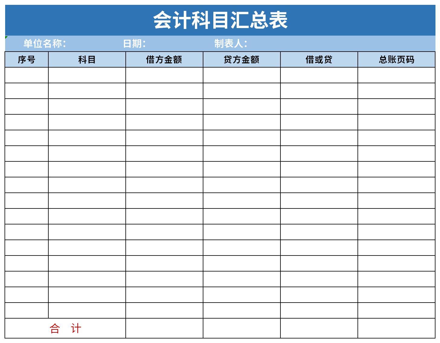 会计科目汇总表截图