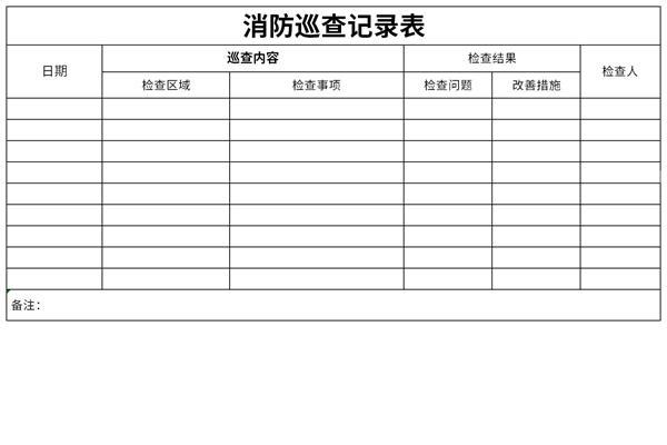 消防巡查记录表