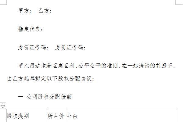 股權分配協議書模板截圖