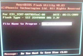 Award BIOS写入(AWDFLASH)工具截图