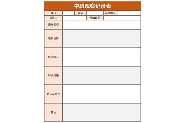 中班观察记录表截图1