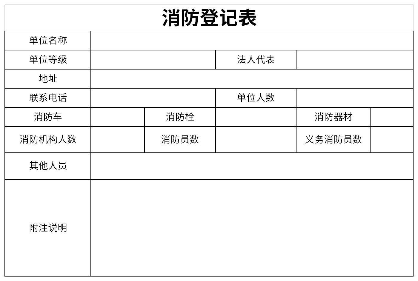 消防登记表截图