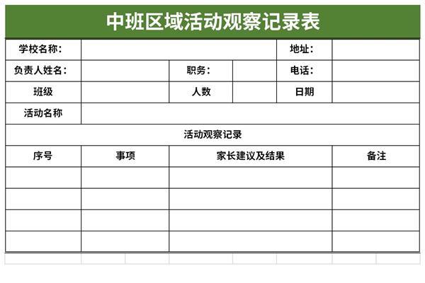 中班区域活动观察记录表