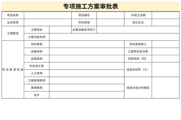 专项施工方案审批表