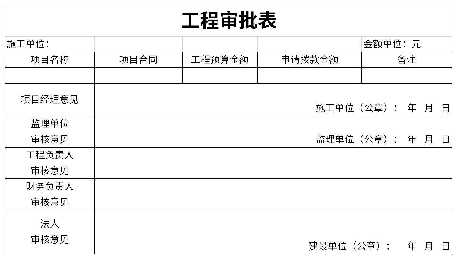 工程支付审批表截图