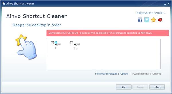 删除无效快捷方式Ainvo Shortcut Cleaner截图