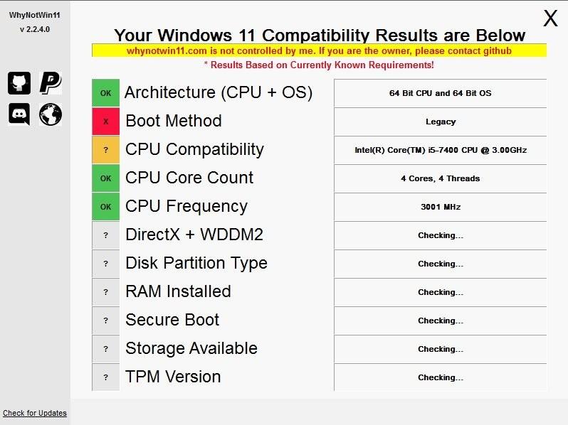 WhyNotWin11(win11配置检测工具)截图