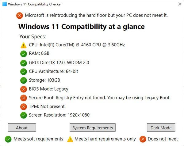 Windows 11 Compatibility Checker(win11升级检测工具)截图