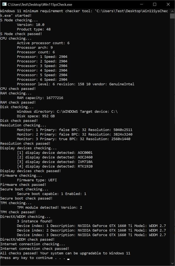 Windows11SysCheck升级检测工具截图