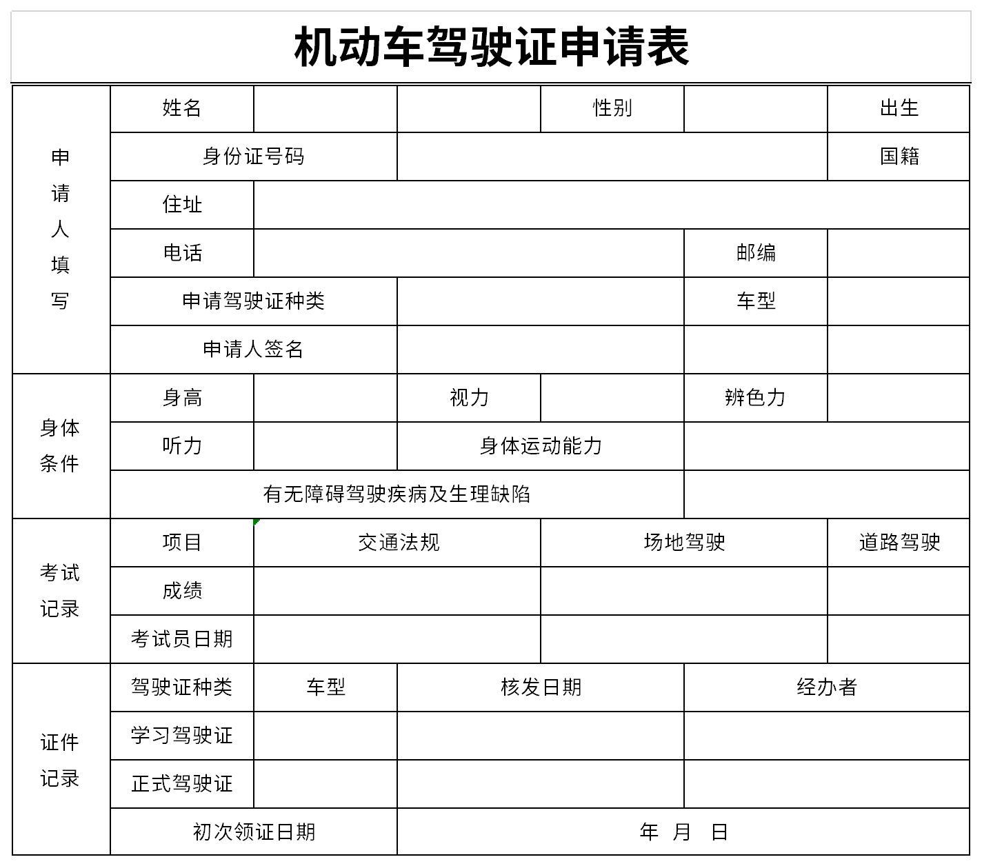 機動車駕駛證申請表截圖