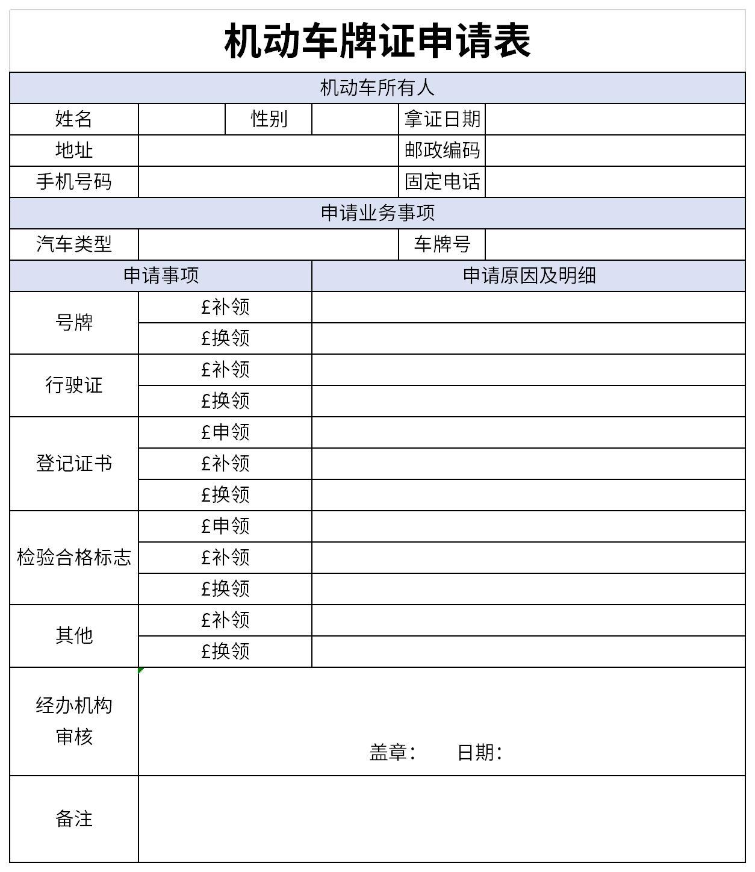 機動車牌證申請表截圖