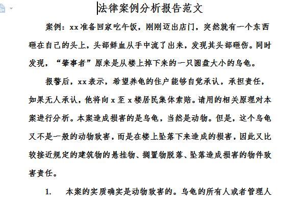 法律案例分析报告范文截图