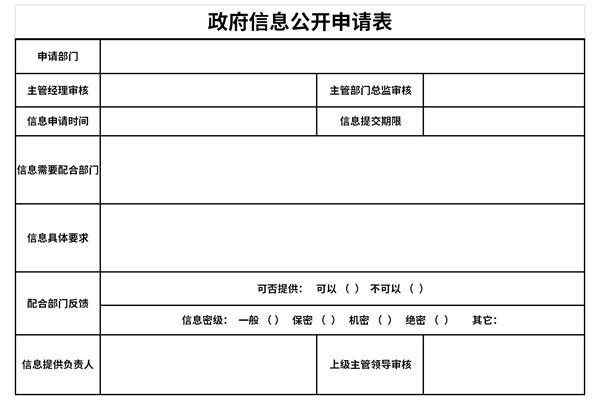 政府信息公开申请表