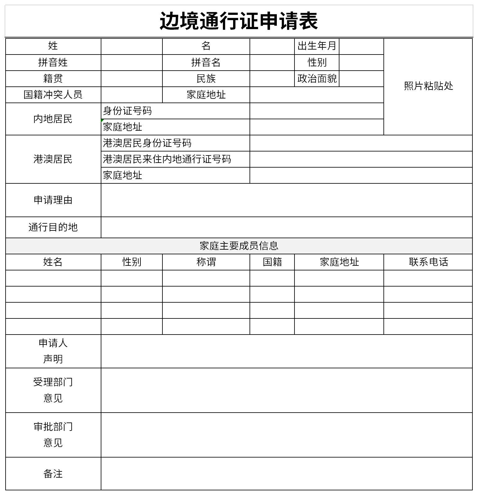 邊境通行證申請表截圖