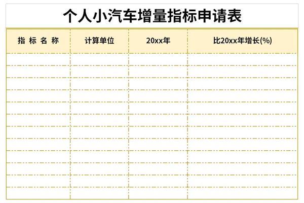 个人小汽车增量指标申请表