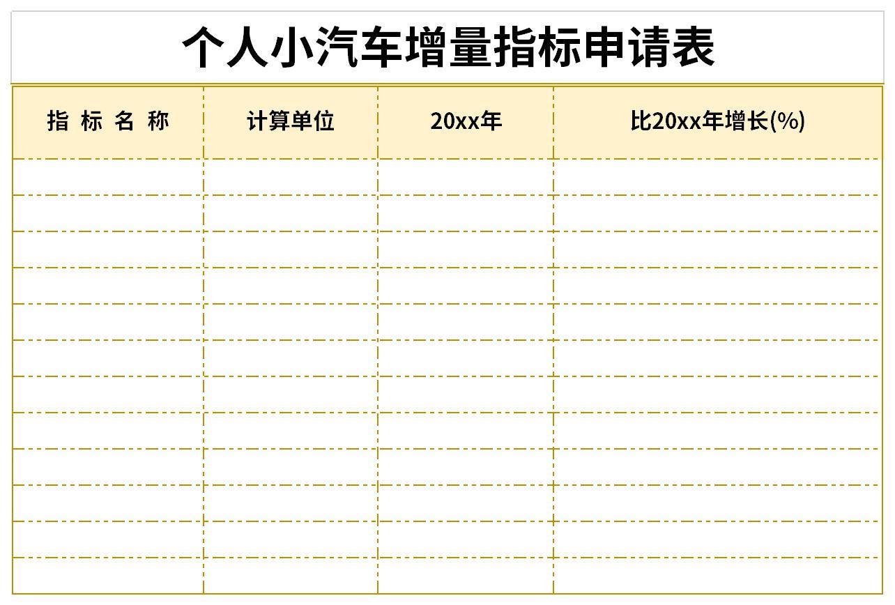 個人小汽車增量指標申請表截圖