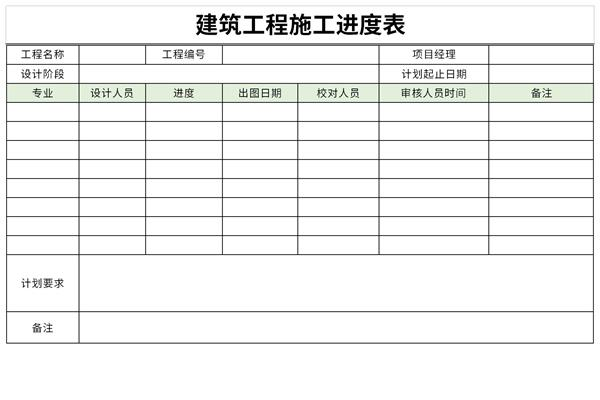 建筑工程施工进度表