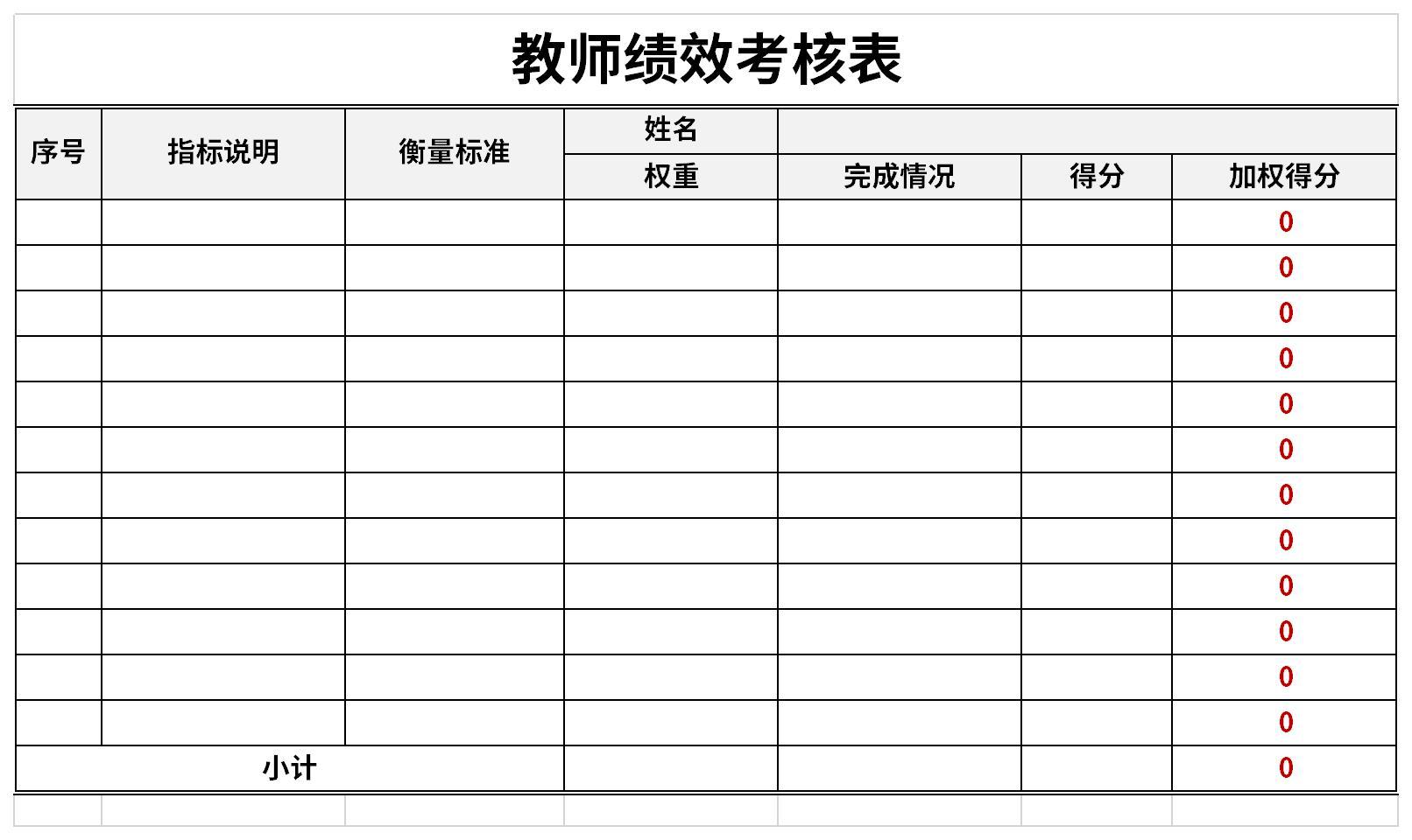 教师绩效考核表截图