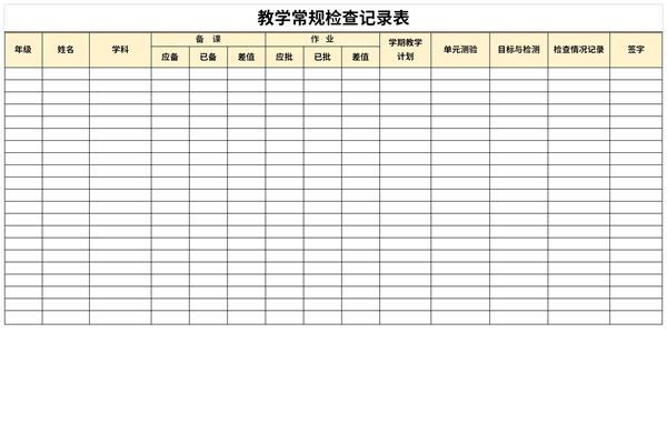 教学常规检查记录表