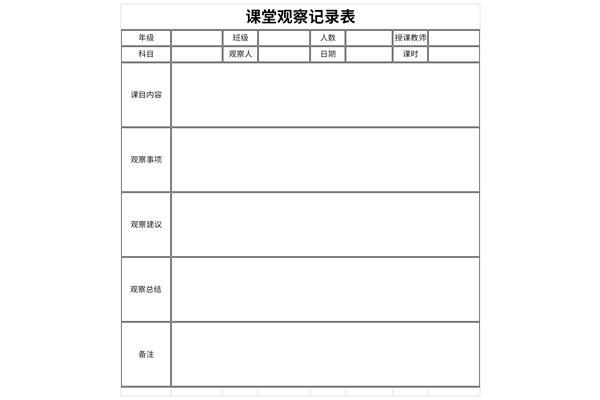 课堂观察记录表