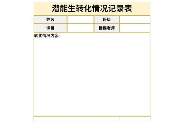 潜能生转化情况记录表