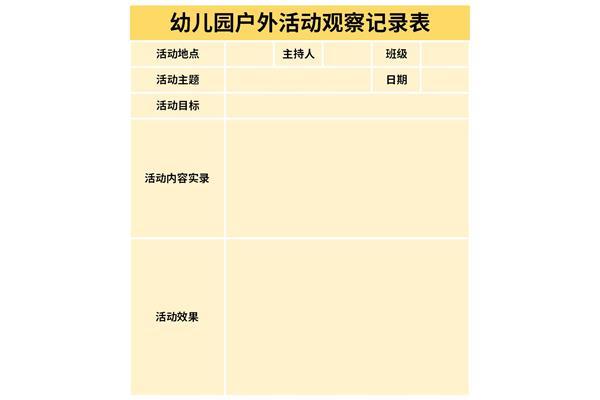 幼儿园户外活动观察记录表