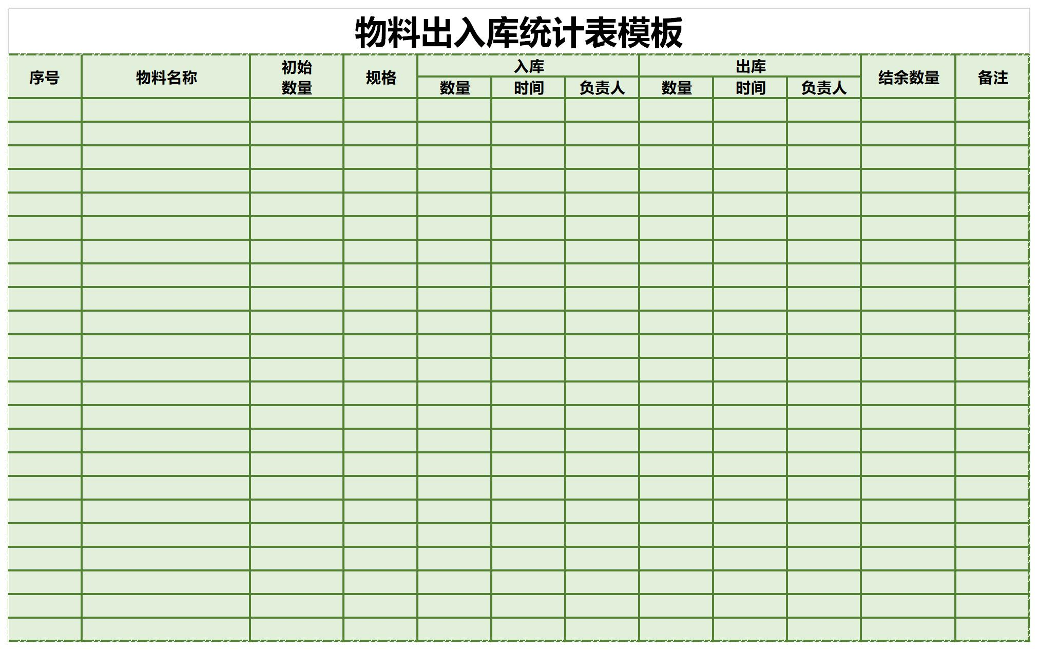 物料出入库统计表模板截图