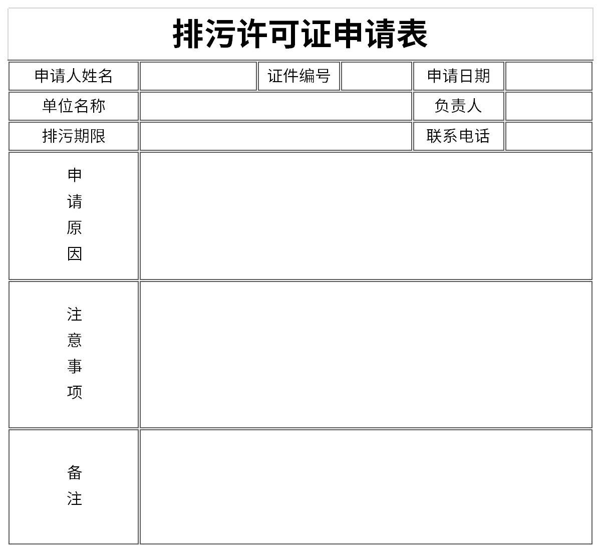 排污许可证申请表截图