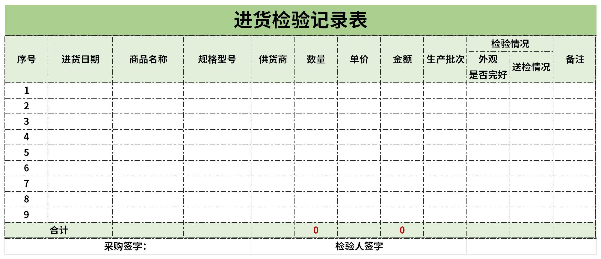 进货检验记录表截图
