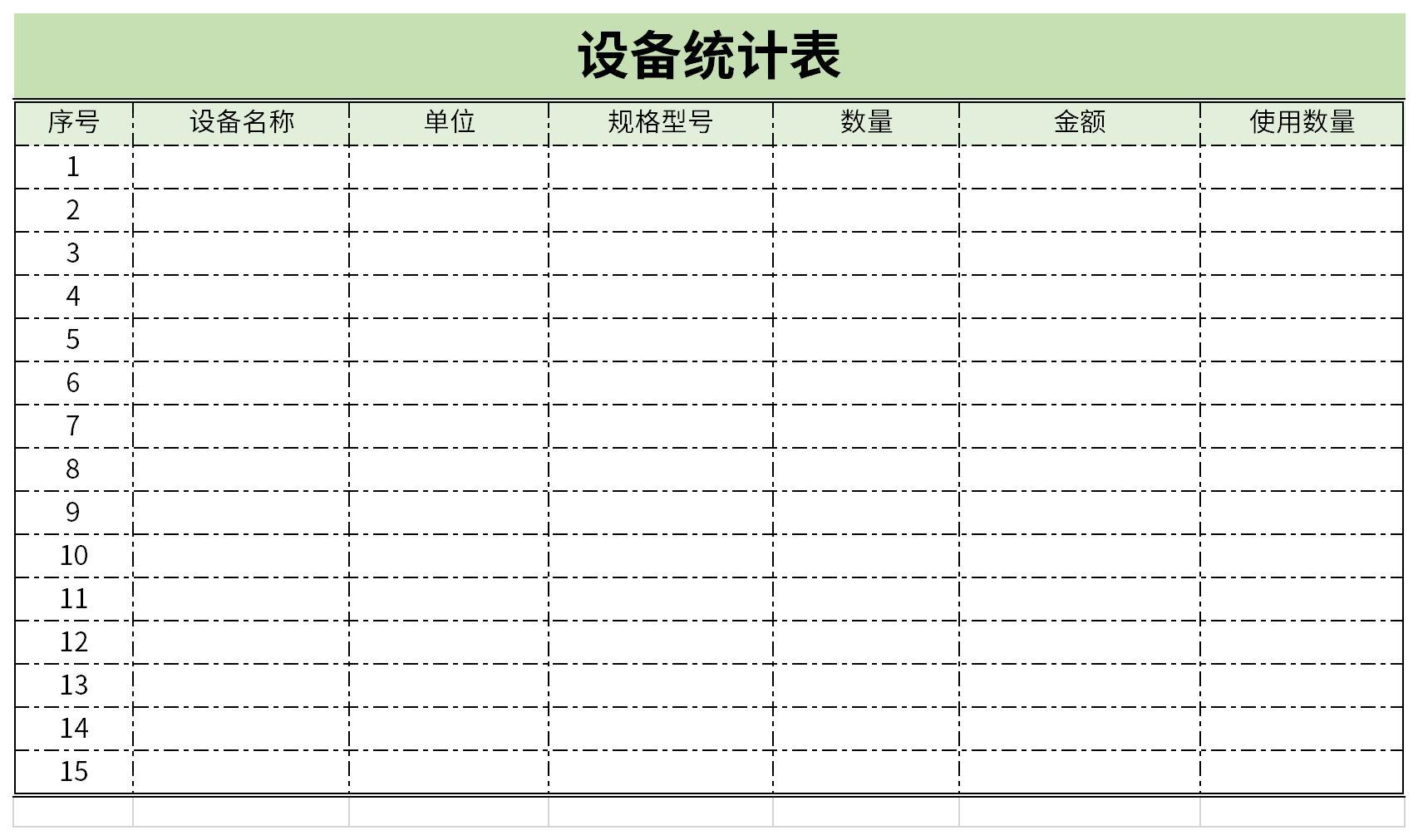 设备统计表截图