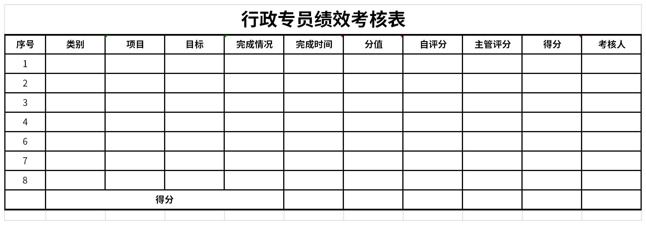 行政文员绩效考核表截图