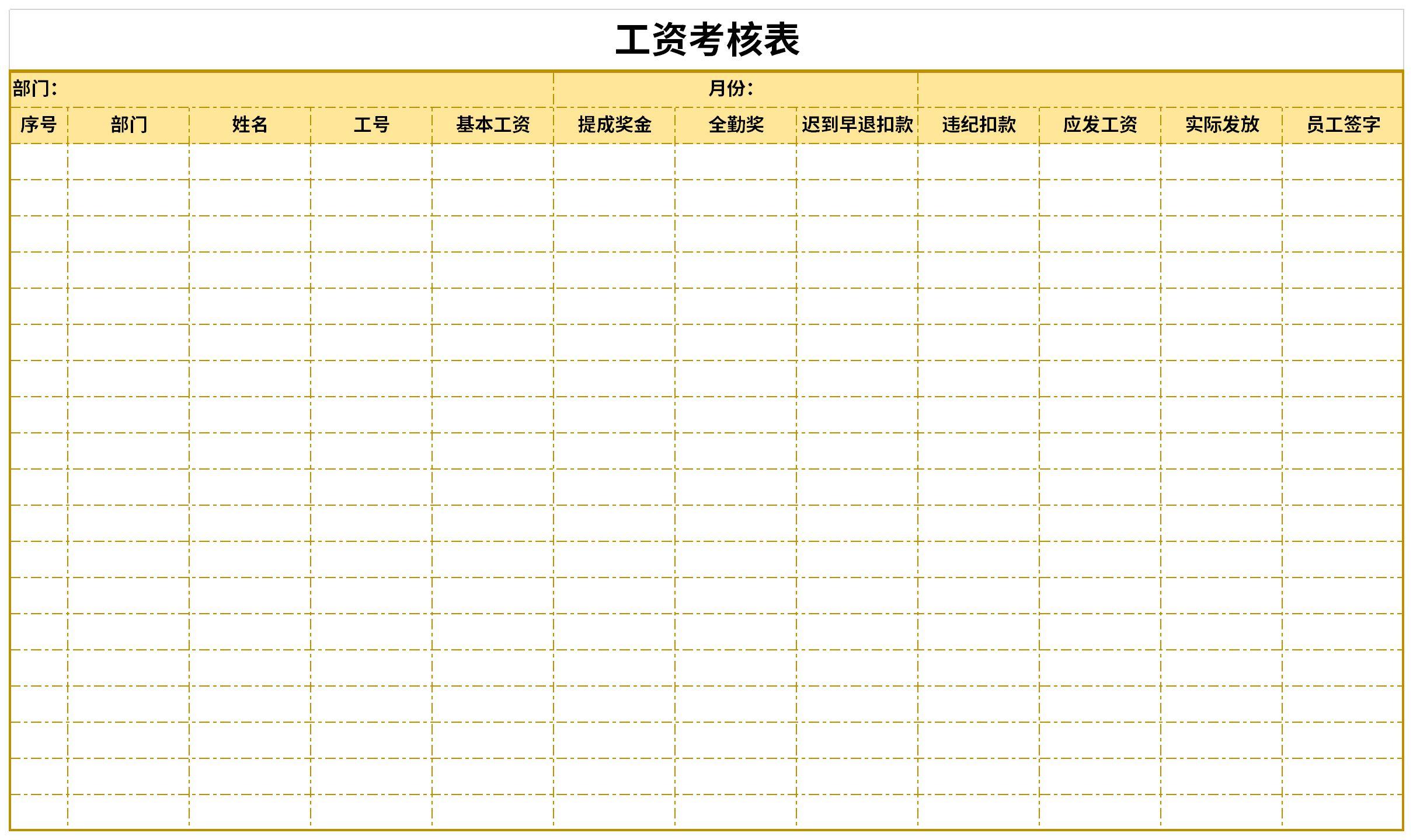 工资绩效考核表截图